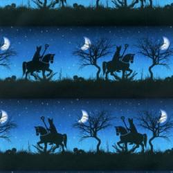 Inpakpapier Sinterklaas - Zwart op blauw (Nr. 90011) - Close-up