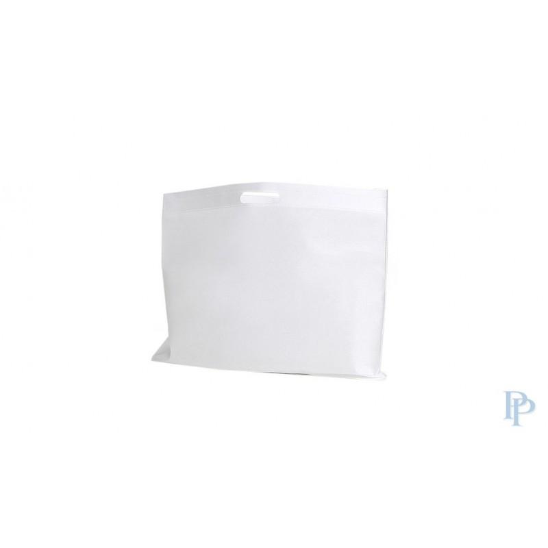 Non Woven Tassen - Wit - Uitgesneden handvaten - Vooraanzicht
