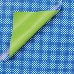 Inpakpapier - Stippen - Wit op blauw (Nr. 975) - Close-up
