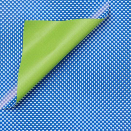 Inpakpapier - Stippen - Wit op blauw (Nr. 975)