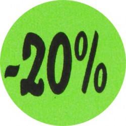 Kortingsstickers - 20% - Groen - Vooraanzicht