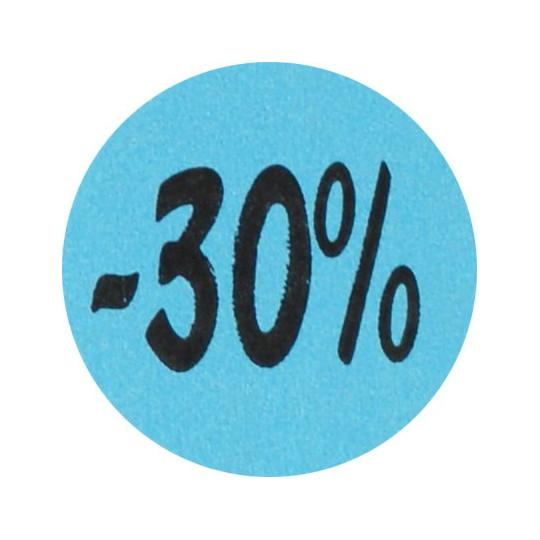 Kortingsstickers - 30% - Blauw Mat