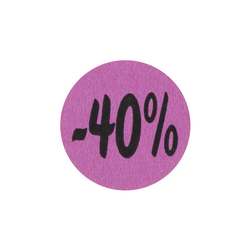 Kortingsstickers - 40% - Paars - Vooraanzicht