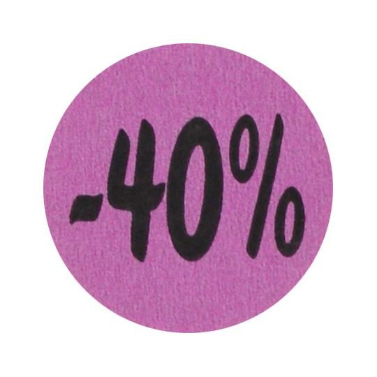 Kortingsstickers - 40% - Paars Mat