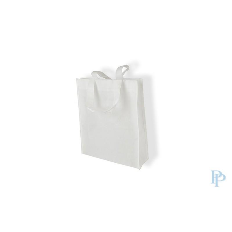 Non Woven Tassen - Wit - Lange hengsels - Vooraanzicht
