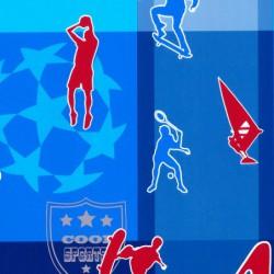 Inpakpapier - Sport - Rood op blauw (Nr. 801) - Close-up