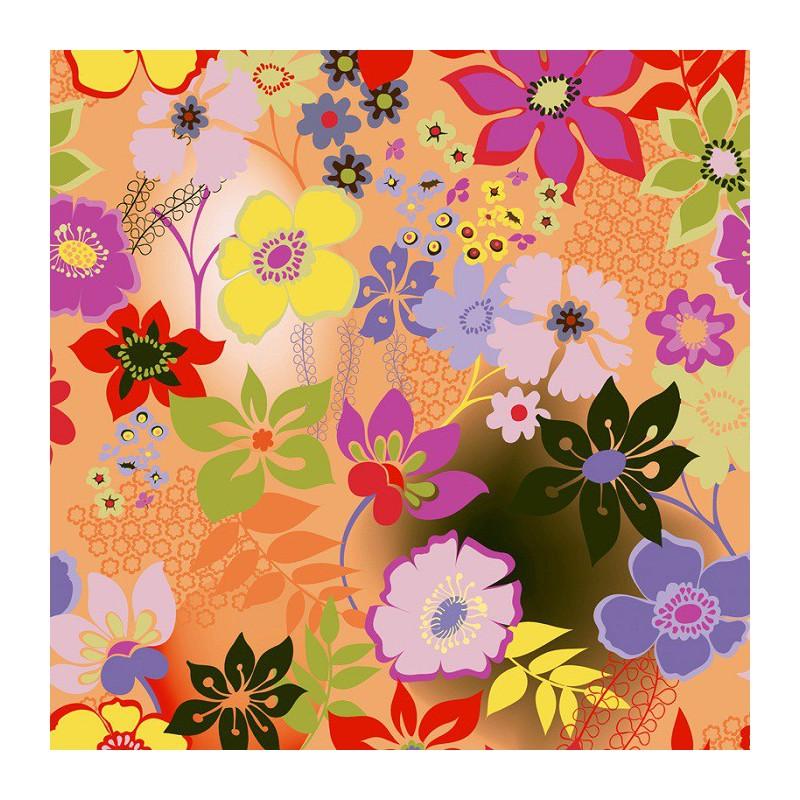 Inpakpapier - Bloemen - Multikleur op oranje (Nr. 606) - Close-up