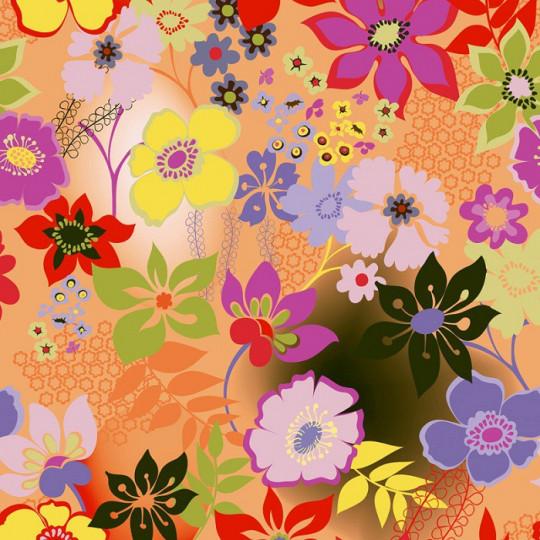 Inpakpapier - Bloemen - Multikleur op oranje (Nr. 606)