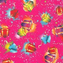 Inpakpapier - Cadeaus - Multikleur op roze (Nr. 405) - Close-up