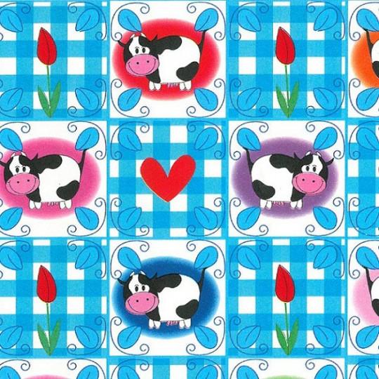 Inpakpapier - Koeien - Multikleur op blauw (Nr. 170)