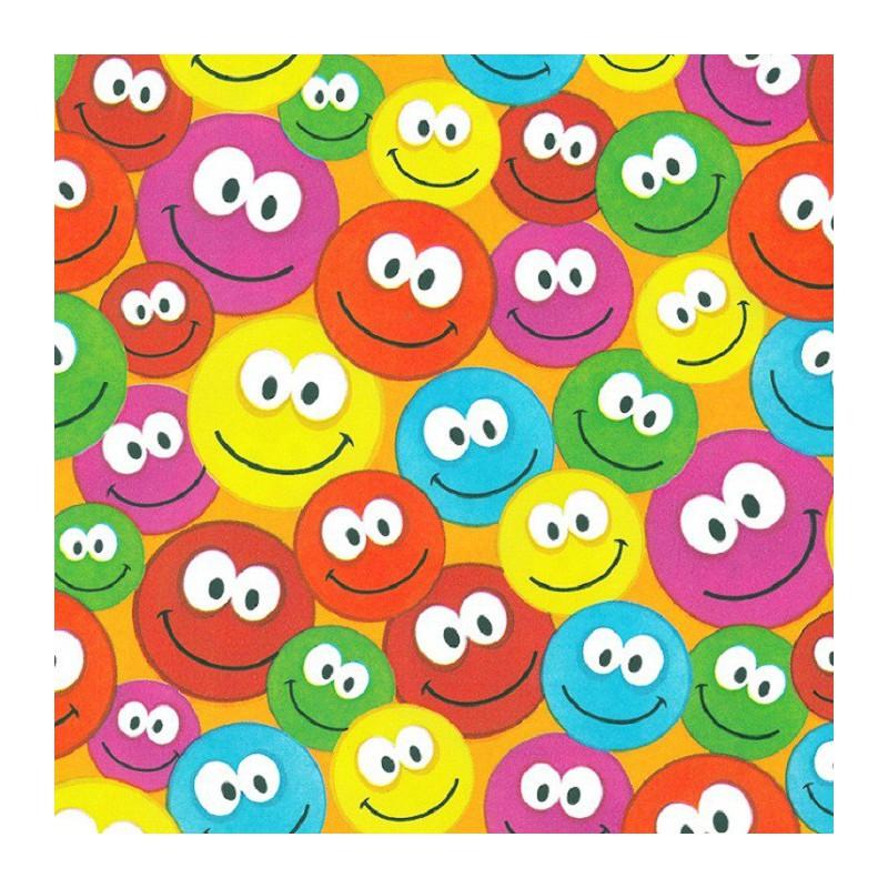 Inpakpapier - Smilies - Mulikleur op oranje (Nr. 444) - Close-up