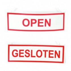 Open / gesloten bordje - Wit / Rood - Voor- en achteraanzicht