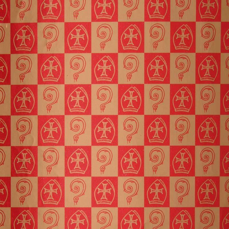 Inpakpapier Sinterklaas -  Goud op rood (Nr. K87) - Close-up