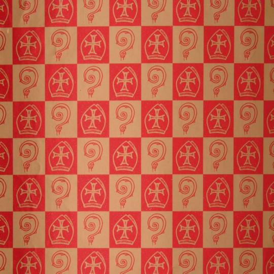 Inpakpapier Sinterklaas -  Goud op rood (Nr. K87)