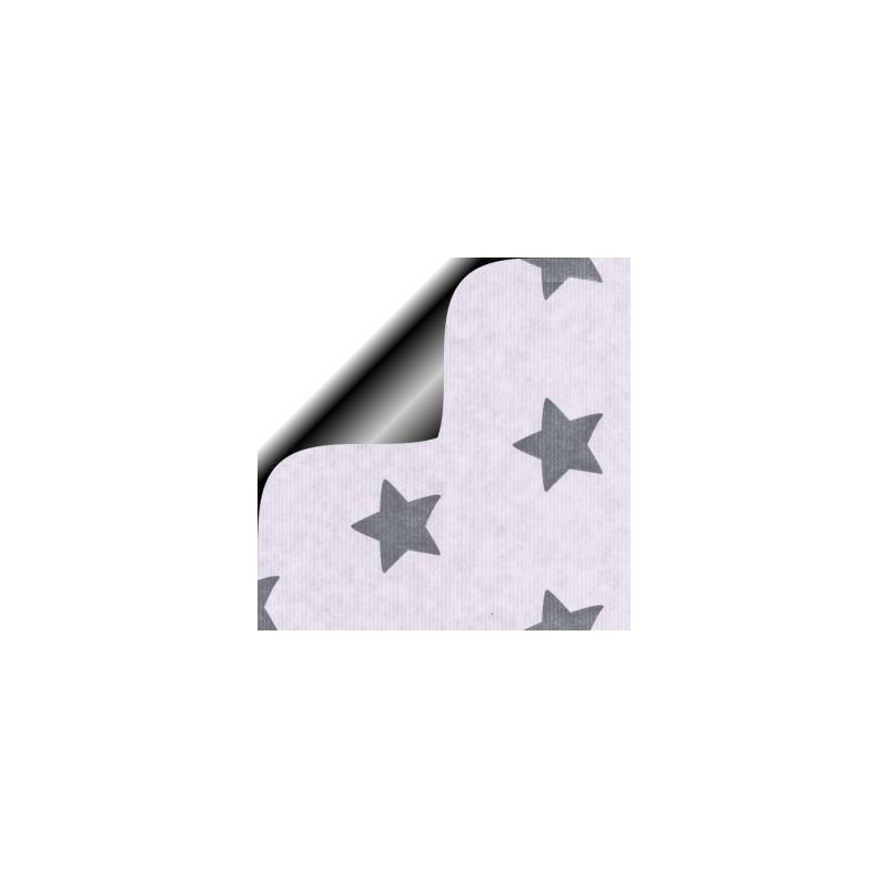 Inpakpapier Feestdagen - Sterren - Zilver op wit kraft (Nr. 6272) - Close-up