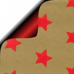 Inpakpapier Feestdagen - Sterren - Rood op goud kraft (Nr. 6276) - Close-up