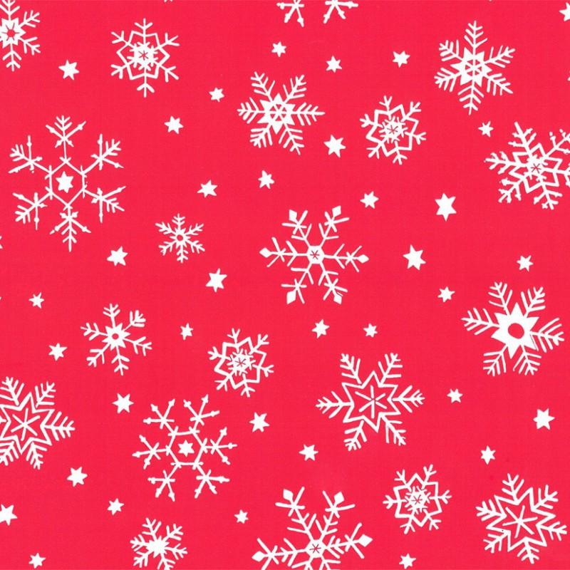 Inpakpapier Feestdagen - Sneeuw - Wit op rood (Nr. 90131) - Close-up