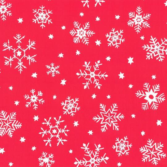 Inpakpapier Feestdagen - Sneeuw - Wit op rood (Nr. 90131)