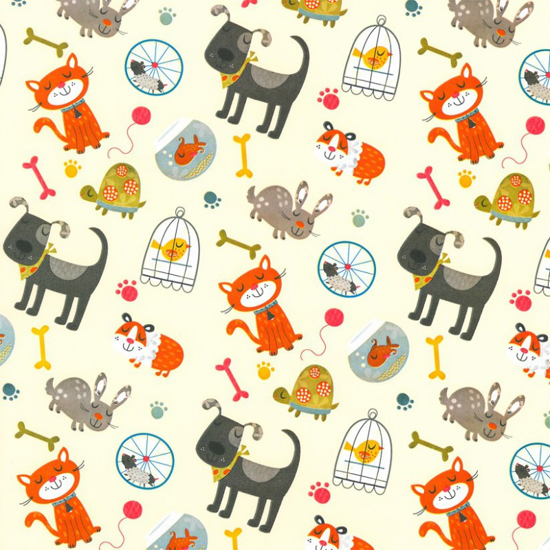 Inpakpapier - Dieren- Multikleur op wit (Nr. 905) - Close-up