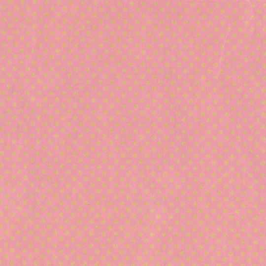Inpakpapier - Stippen - Goud op roze (Nr. 913)
