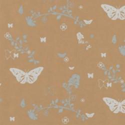 Inpakpapier - Vlinders - Wit op bruin (Nr. 914) - Close-up
