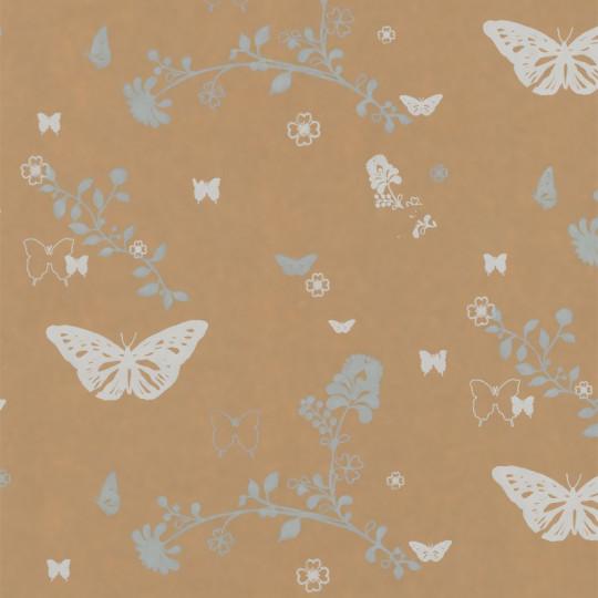 Inpakpapier - Vlinders - Wit op bruin (Nr. 914)