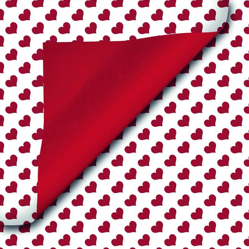 Inpakpapier - Valentijn - Rood op wit (Nr. 921) - Close-up