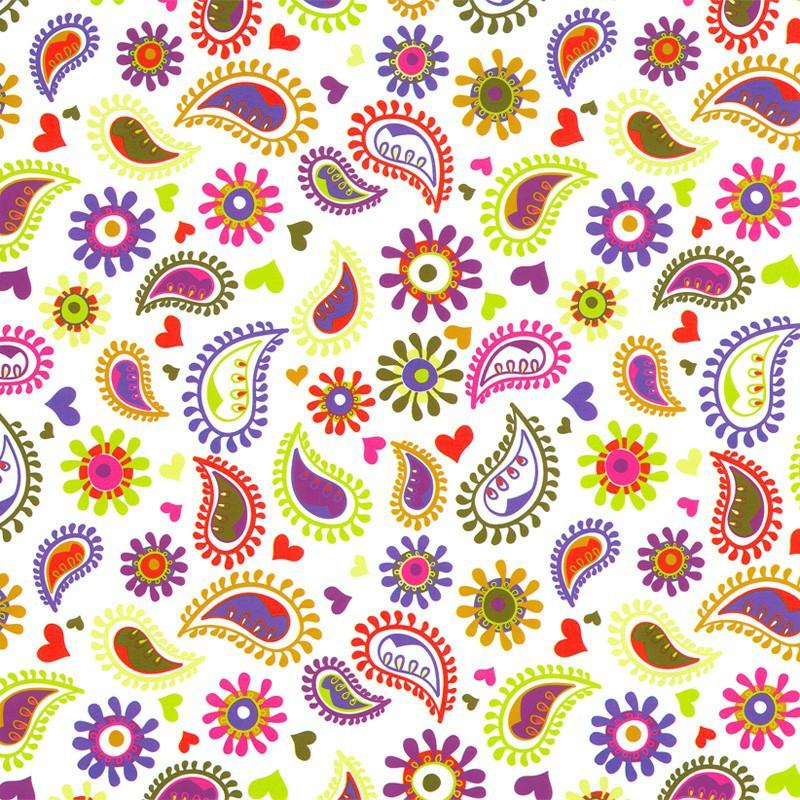 Inpakpapier - Retro - Multikleur op wit (Nr. Chr1503) - Close-up