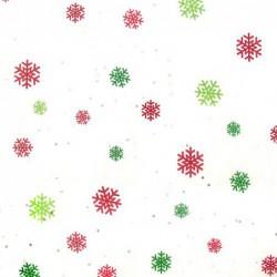 Zijdepapier - Sneewvlokken - Zilver / groen / goud op wit - Close-up