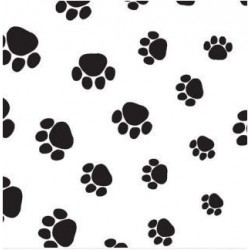 Zijdepapier - Puppy Pootjes - Zwart op wit - Close-up