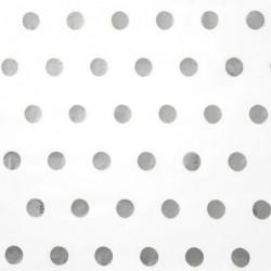 Zijdepapier - Stippen - Zilver op wit - Close-up