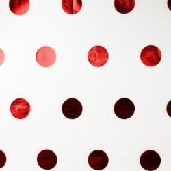 Zijdepapier - Stippen - Rood op wit - Close-up