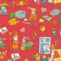 Inpakpapier Sinterklaas - Multikleur op rood (Nr. 017) - Close-up