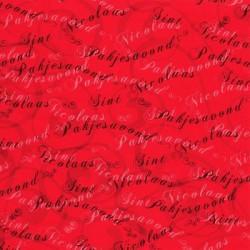 Inpakpapier Sinterklaas - Letters - Zwart op rood (Nr. 6000) - Close-up