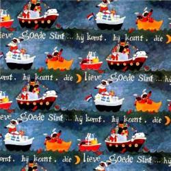 Inpakpapier Sinterklaas -  Rood op blauw (Nr. 6020) - Close-up