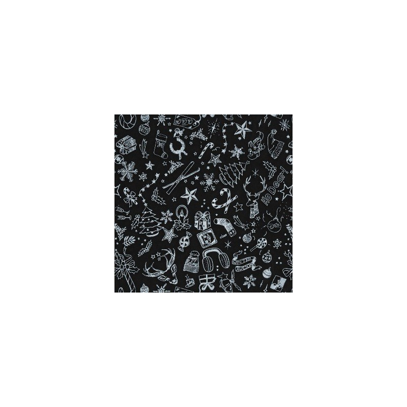 Inpakpapier Feestdagen -Kerst - Zilver op zwart (Nr. 6057) - Close-up