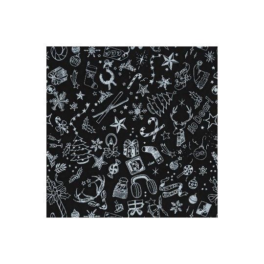Inpakpapier Feestdagen -Kerst - Zilver op zwart (Nr. 6057)