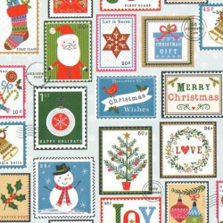 Inpakpapier Feestdagen - Kerst - Multikleur op wit (Nr. 90163) - Close-up