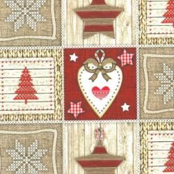 Inpakpapier Feestdagen - Kerst - Rood op bruin (Nr. 90166) - Close-up