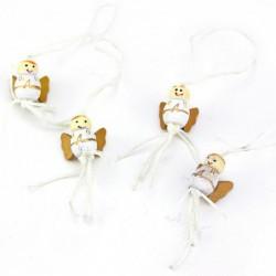 Kerst engeltje cadeauhangers - Wit / Goud - Vooraanzicht