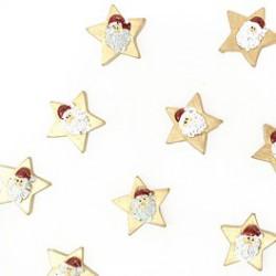 Plakdecoratie - Kerstman op gouden ster - Vooraanzicht