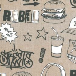 Inpakpapier - Letters - Zwart op bruin (Nr. 912) - Close-up