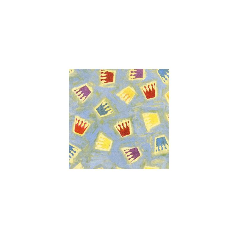 Inpakpapier - Kroontjes - Multikleur op blauw (Nr. 1012) - Close-up