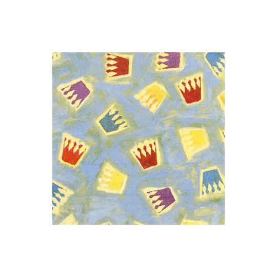 Inpakpapier - Kroontjes - Multikleur op blauw (Nr. 1012) - Outlet
