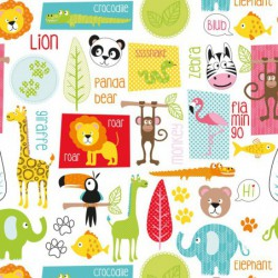 Inpakpapier - Dieren - Multikleur op wit (Nr. 922) - Close-up