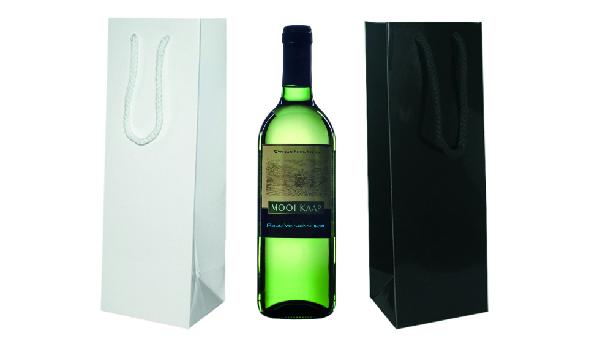 Papieren en plastic wijnflestassen bedrukken